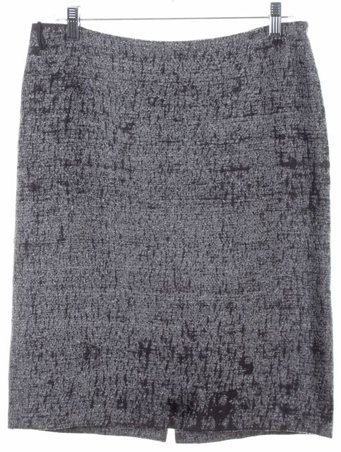 PRADA Gray Black Tweed Linen Silk Cotton Knee Length Pencil Skirt