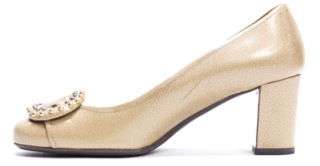 PRADA Beige Textured Leather Buckle Detail Embellished Round Toe Pumps
