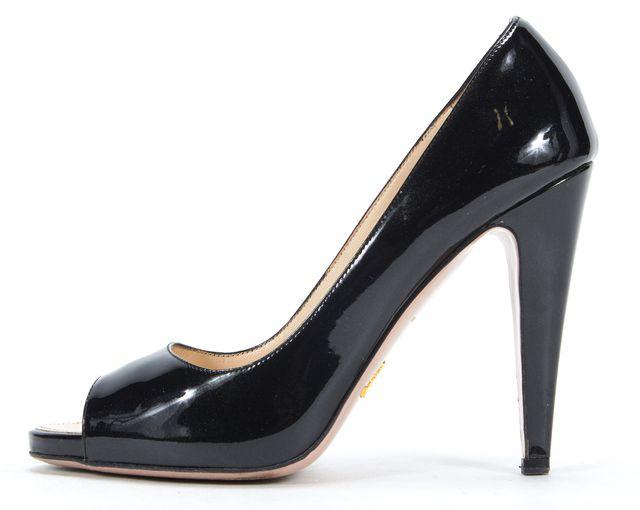 PRADA Black Metallic Patent Leather Peep-Toe Pump Heels
