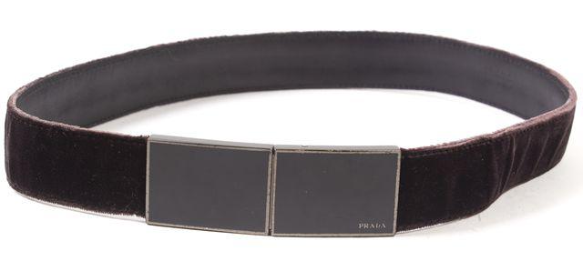PRADA Dark Brown Velvet Metal Hardware Belt
