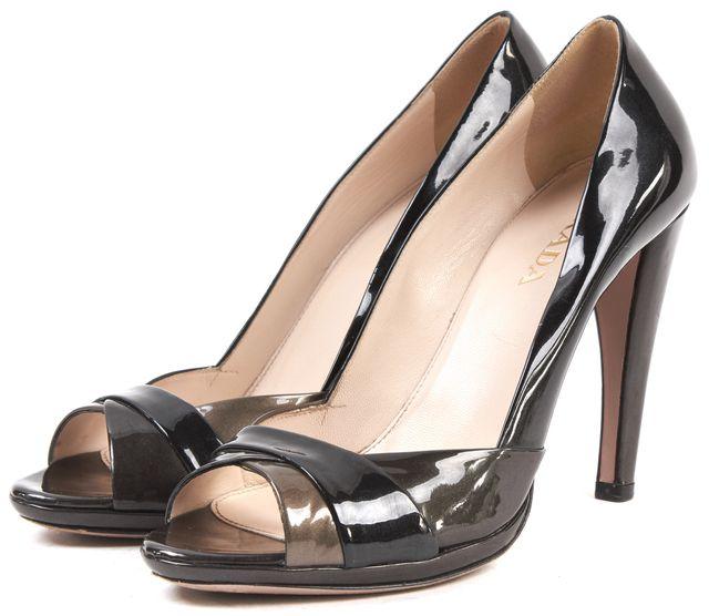 PRADA Black Brown Patent Leather Open Toe Heels