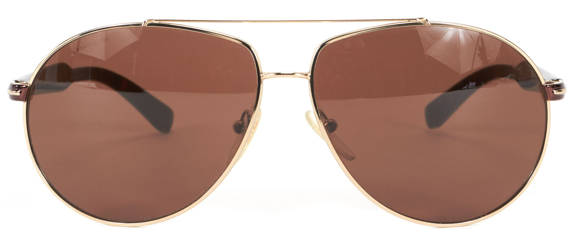 oversized aviator sunglasses  Prada Silver Brown Metallic Rim Oversized Aviator Sunglasses ...