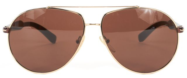 PRADA Silver Brown Metallic Rim Oversized Aviator Sunglasses