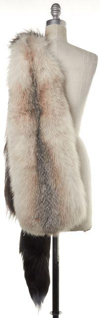 PRADA Brown Ivory Blue Fox Fur Stole SS 2011