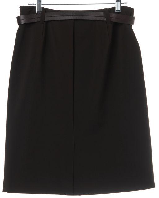 PRADA Brown Belted Straight Skirt