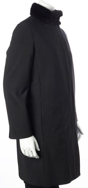 PRADA Black Fur Jacket With Fur Collar and Lining Coat US M IT 42