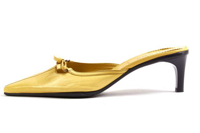 PRADA Yellow Leather Slip-on Bow Embellished Mule Pointed Kitten Heels