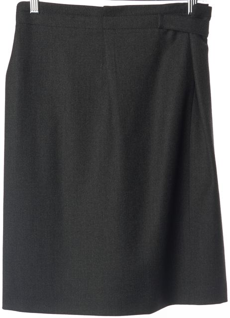 PRADA Charcoal Gray Wool Knee Length Belted Pleated Skirt
