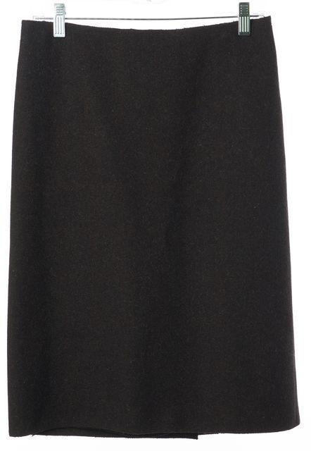 PRADA Charcoal Gray Wool Knee Length Straight Skirt