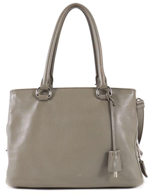 PRADA Gray Pebbled Leather Satchel Top Handle Bag