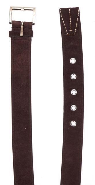PRADA Brown Suede Leather Silver Buckle Belt