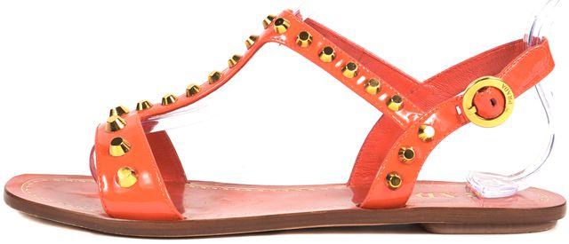 PRADA Red Patent Leather Studded T Strap Flat Sandals
