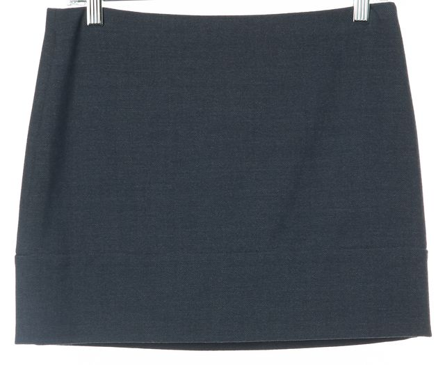 PRADA Blue Stretch Wool Side Zip Straight Pencil Mini Skirt