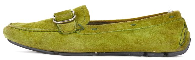 PRADA Green Suede Buckle Driving Loafers