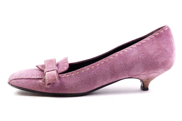 PRADA Purple Suede Bow Detail Heeled Loafers
