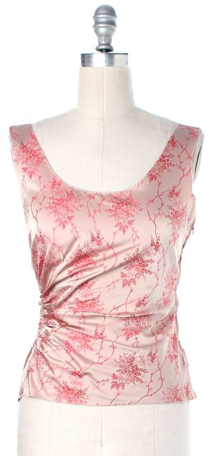 PRADA Blush Pink Red Floral Embroidered Silk Ruched Blouse Top