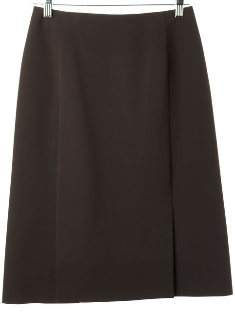 PRADA Chocolate Brown Front Slits Above Knee A-Line Skirt