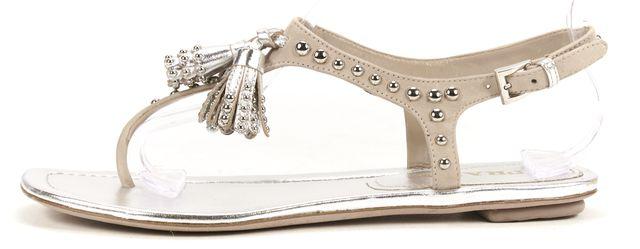 PRADA Silver Beige Leather Studded Tassel Flat Summer Sandals