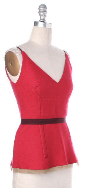 PRADA Red Felted Wool Spaghetti Strap V-Neck Fit Flare Tank Top