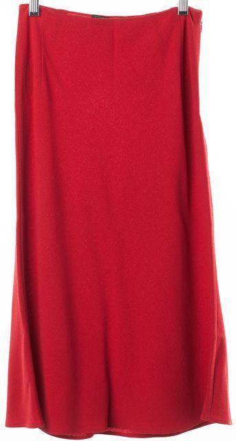 PRADA Red Wool Blend Flutter Hem Below Knee Straight Skirt