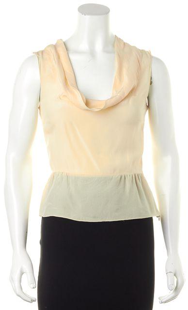 PRADA Cream 100% Silk Sleeveless Zipped Side Cowl Neck Blouse