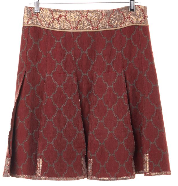 PRADA Red Gold Metallic Brocade Full Pleated Skirt