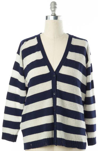 PRADA Navy Blue White Striped Wool Cashmere V-Neck Cardigan Sweater