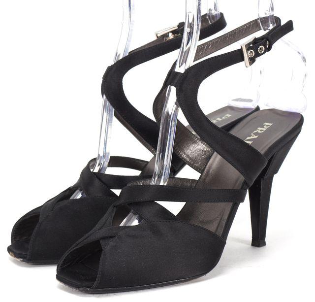 PRADA Black Satin Strappy Peep Toe Sandal Heels