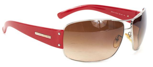 PRADA Silver Wire Red Acetate Frame Brown Gradient Lens Sunglasses