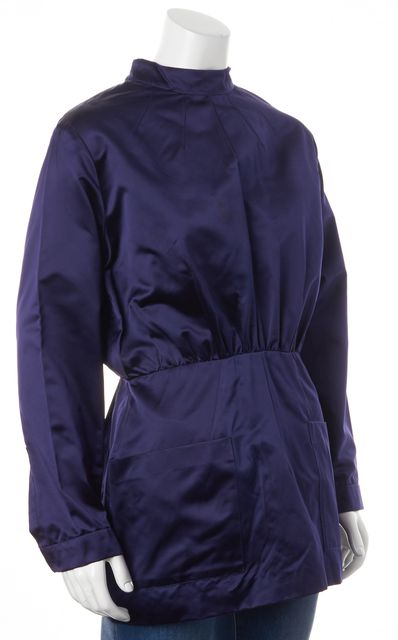 PRADA Navy Blue Silk Mock Neck Pocket Front Tunic Dress