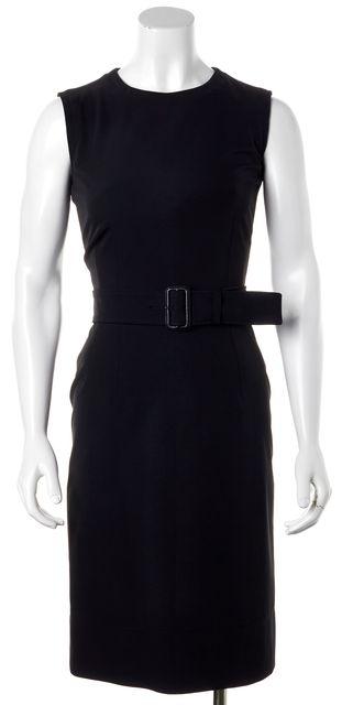 PRADA Wear To Work Black Sheath Belt Dress
