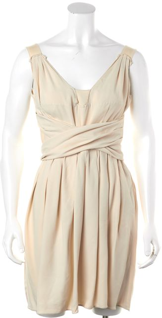 PRADA Ivory A-Line Torso Wrap Dress