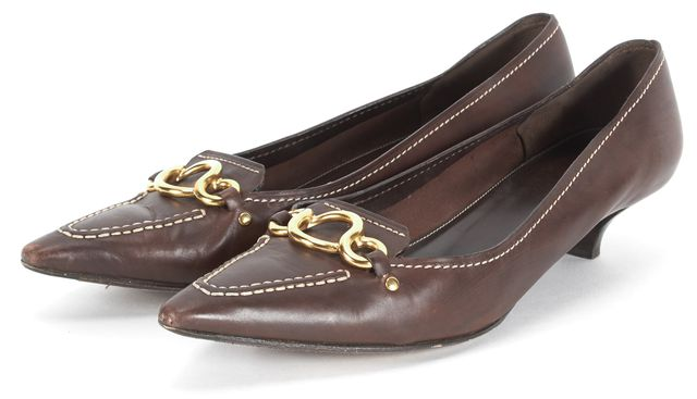 PRADA Brown Leather Gold Hardware Pointed Toe Kitten Heels