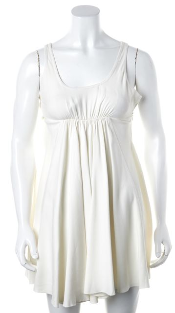 PRADA Ivory Off White Casual Pleat Front Fit & Flare Empire Waist Dress