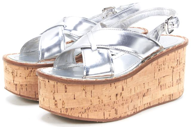 PRADA Silver Leather Cork Platform Sandals ...