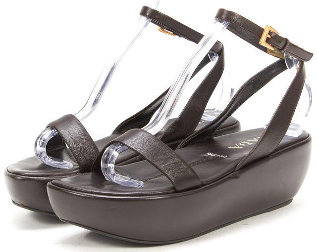 PRADA Chocolate Brown Leather Platform Sandals