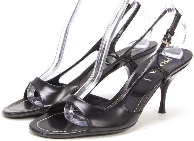PRADA Black Leather Open Toe Slingback Heels