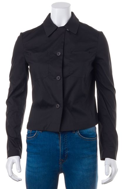 PRADA Black Long Sleeve Cropped Button Down Shirt Top