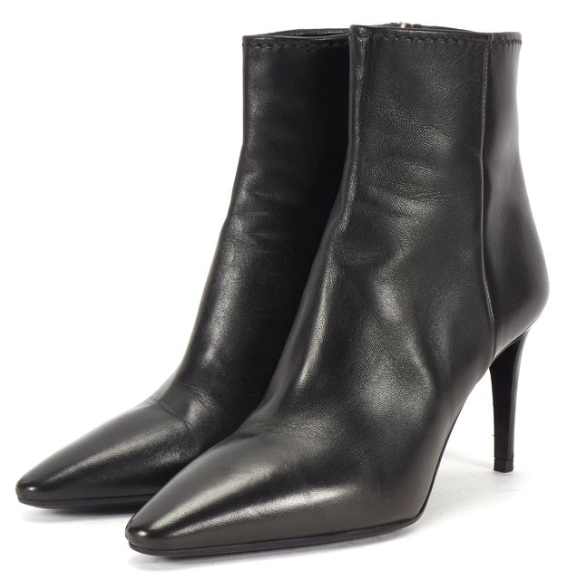 PRADA Black Leather Pointed Toe Side Zip High Heel Ankle Boots US 7 IT 37