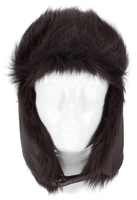 PRADA Brown Leather Sheep Hair Trim Aviator Hat