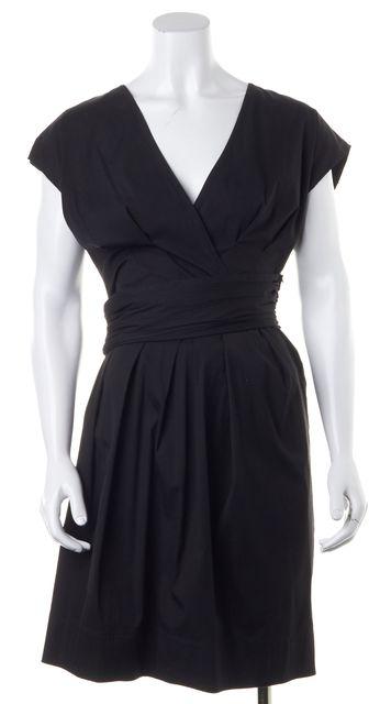 PRADA Black V-Neck Sleeveless Pleated Belted Sheath Dress