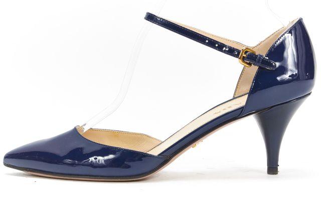 PRADA Navy Blue Patent Leather d'Orsay Mary Jane Kitten Heels