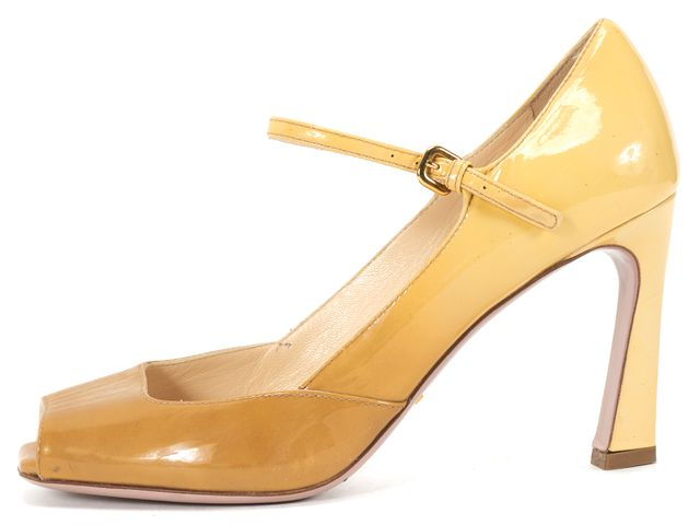 PRADA Carmel Ombre Patent Leather Mary Jane Peep-Toe Strap Heel US 7.5 IT 37.5