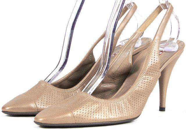 PRADA Latte Perforated Leather Point-Toe Slingback Heels