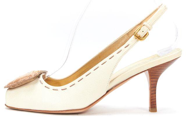 PRADA Cream Beige Leather Snake Embossed Square Peep-Toe Slingback Heels