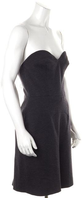 PRADA Gray Wool Strapless Corset Bodice Above Knee Sheath Dress