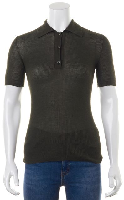 PRADA Casual Olive Green Polo Shirt Top