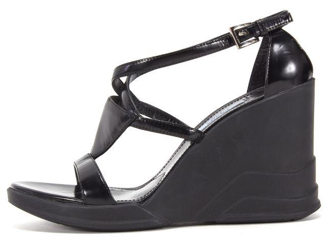 PRADA Black Leather Multi Strap Platform Wedge Sandals