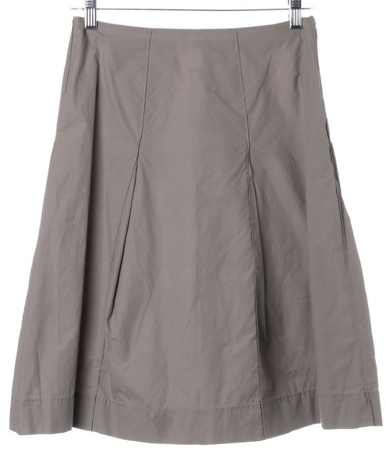 PRADA Gray Lightweight Cotton Pleated Above Knee A-Line Skirt