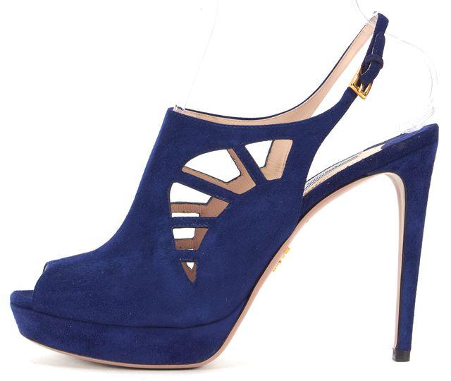 PRADA Blue Suede Peeptoe Slingback Heels